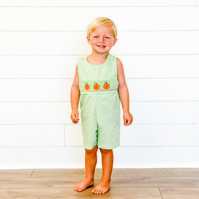Smocked Pumpkins Shortall - Green Check
