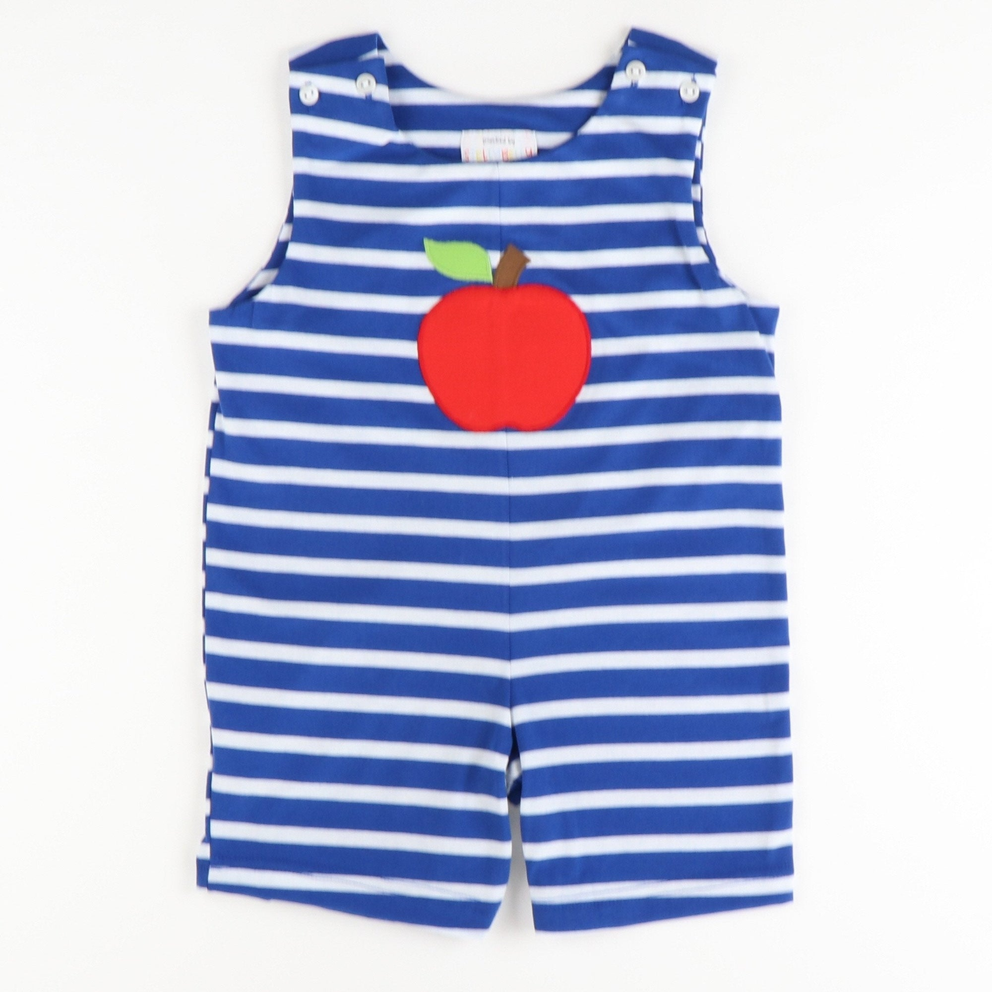 Appliquéd Apple Shortall - Royal Blue Stripe Knit - Stellybelly ?id=28062119493711
