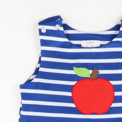 Appliquéd Apple Shortall - Blue Stripe