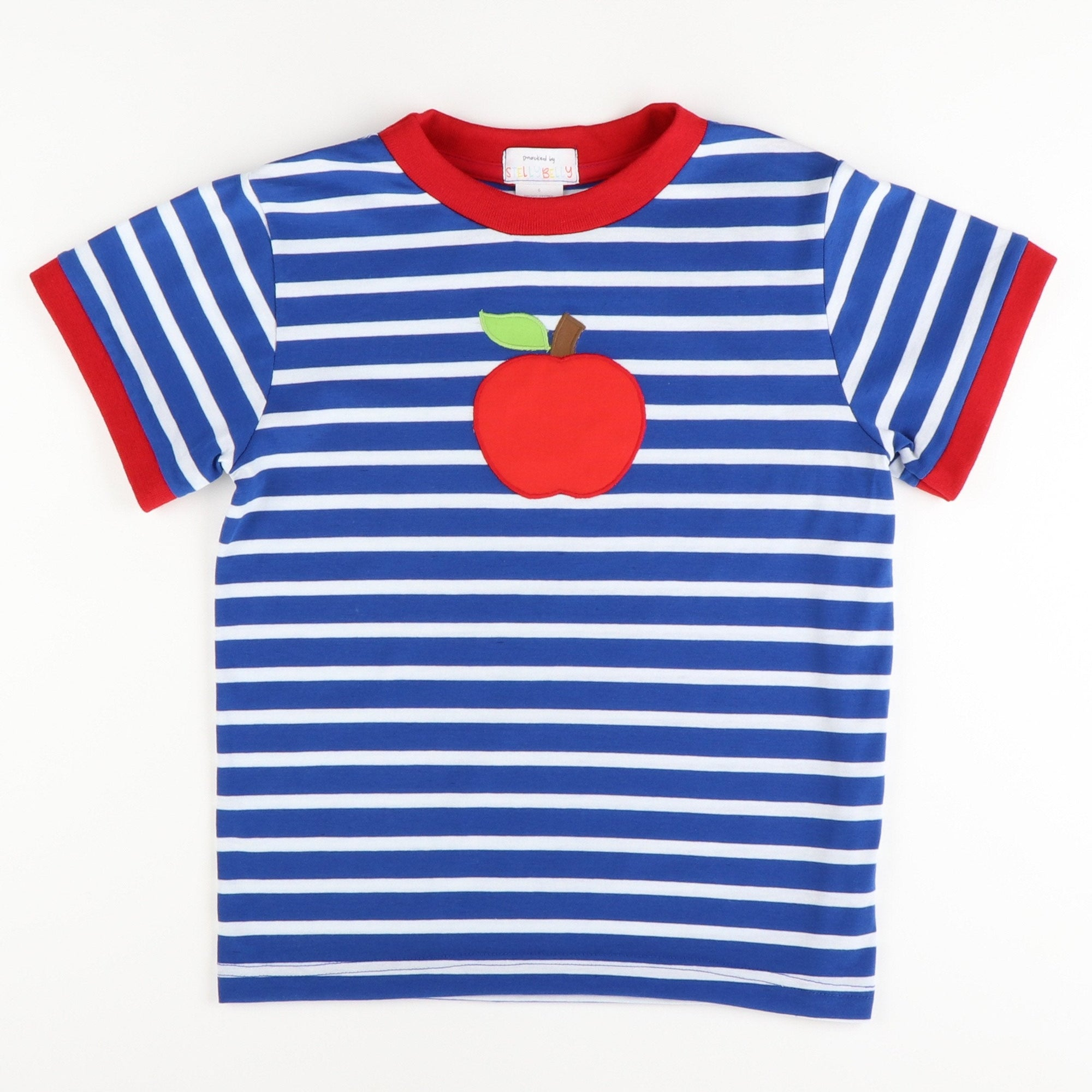 Appliquéd Apple Short Sleeve Shirt - Royal Blue Stripe Knit - Stellybelly