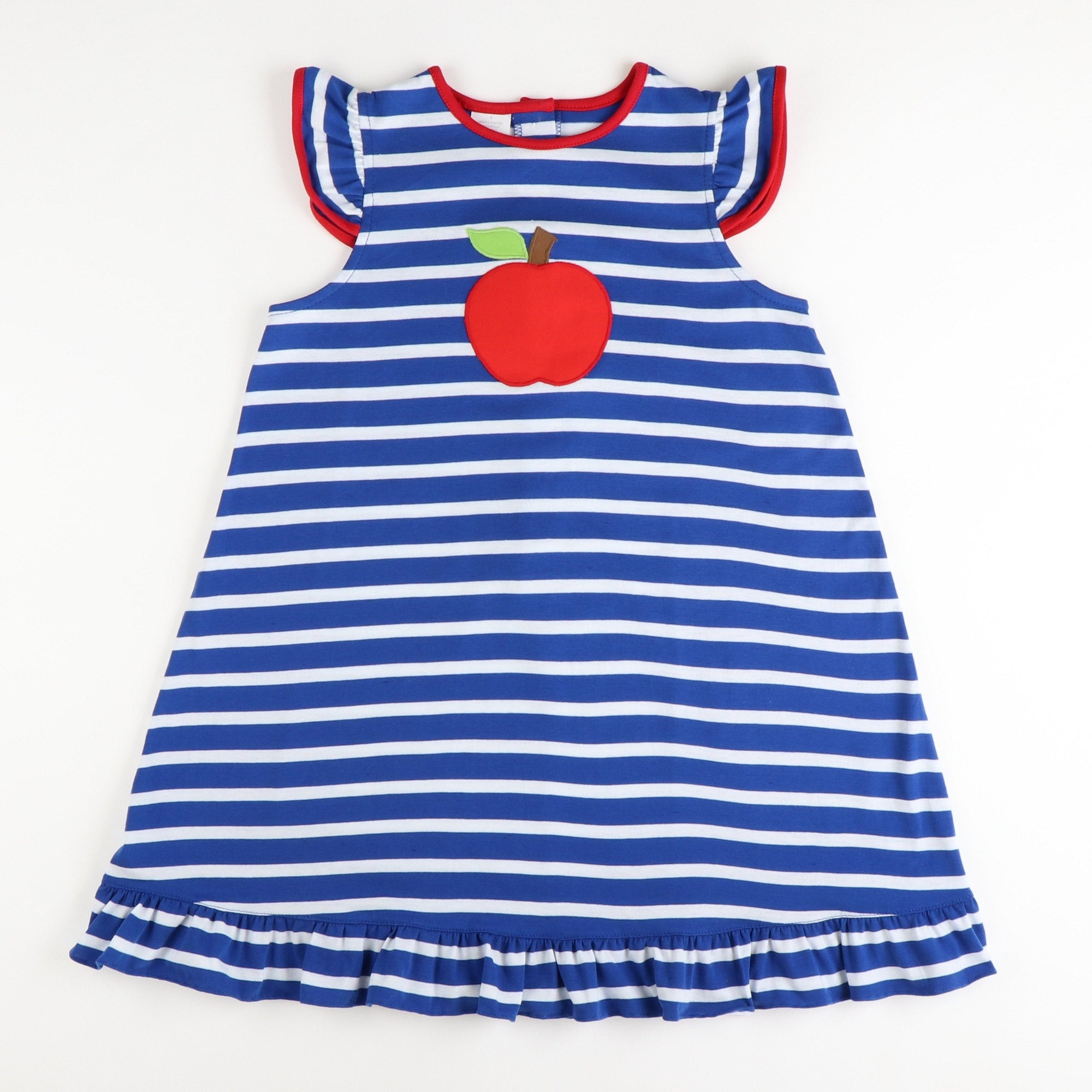Appliquéd Apple Dress - Royal Blue Stripe Knit - Stellybelly ?id=28062074110031