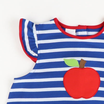 Appliquéd Apple Knit Dress - Blue Stripe
