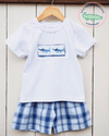 Boys Smocked Marlin Shirt & Shorts Set - Southern Smocked Company | Great Deals On Classically Styled Smocked, Monogrammed, & Embroidered Infant, Toddler, & Children's Clothing