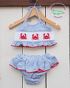 Smocked Crab Seersucker Bikini - Southern Smocked Company | Great Deals On Classically Styled Smocked, Monogrammed, & Embroidered Infant, Toddler, & Children's Clothing