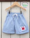 Smocked Crab Seersucker Swimsuit - Southern Smocked Company | Great Deals On Classically Styled Smocked, Monogrammed, & Embroidered Infant, Toddler, & Children's Clothing
