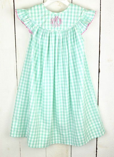 MINT GINGHAM DRESS - Southern Smocked Company | Great Deals On Classically Styled Smocked, Monogrammed, & Embroidered Infant, Toddler, & Children's Clothing