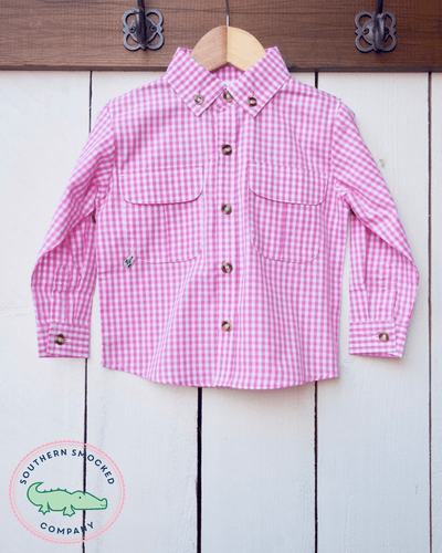 PINK GINGHAM FISHING SHIRT - Southern Smocked Company | Great Deals On Classically Styled Smocked, Monogrammed, & Embroidered Infant, Toddler, & Children's Clothing