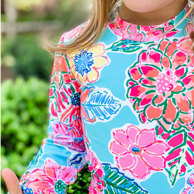 Tropical Floral One-Piece Rash Guard - Stellybelly ?id=28068162994255
