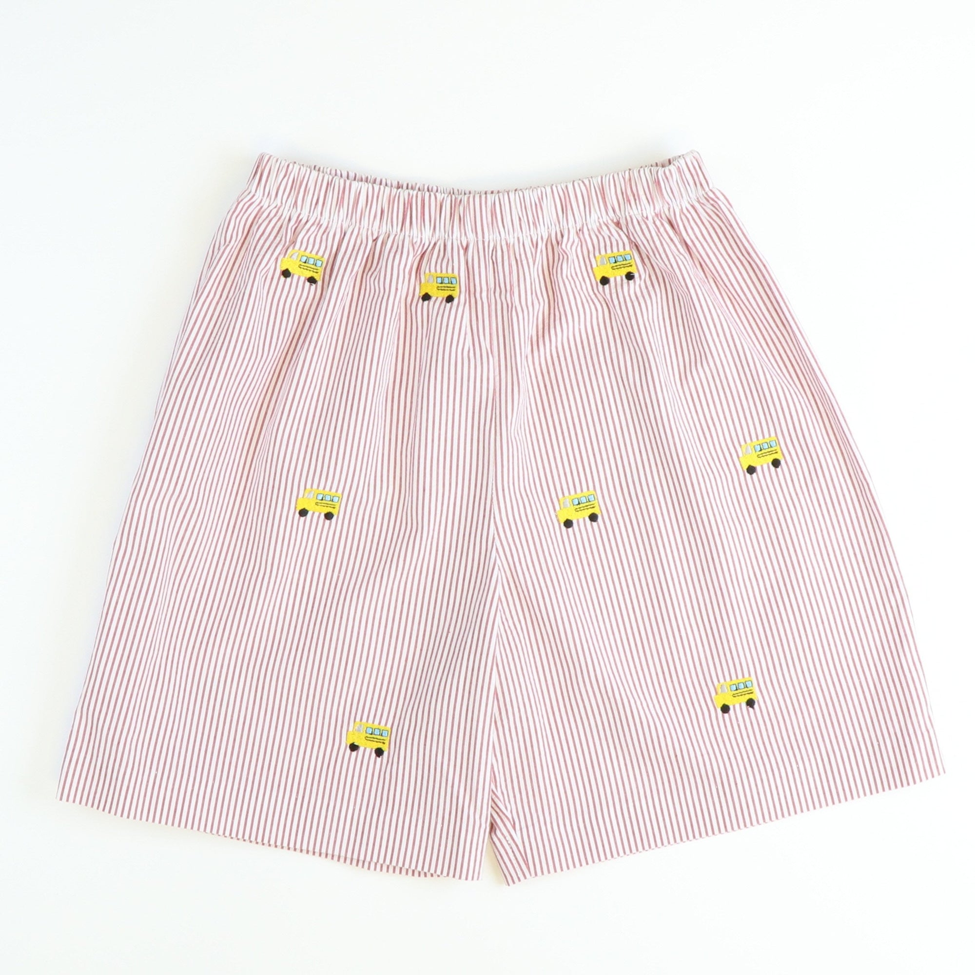 Embroidered School Buses Shorts - Red Stripe Seersucker