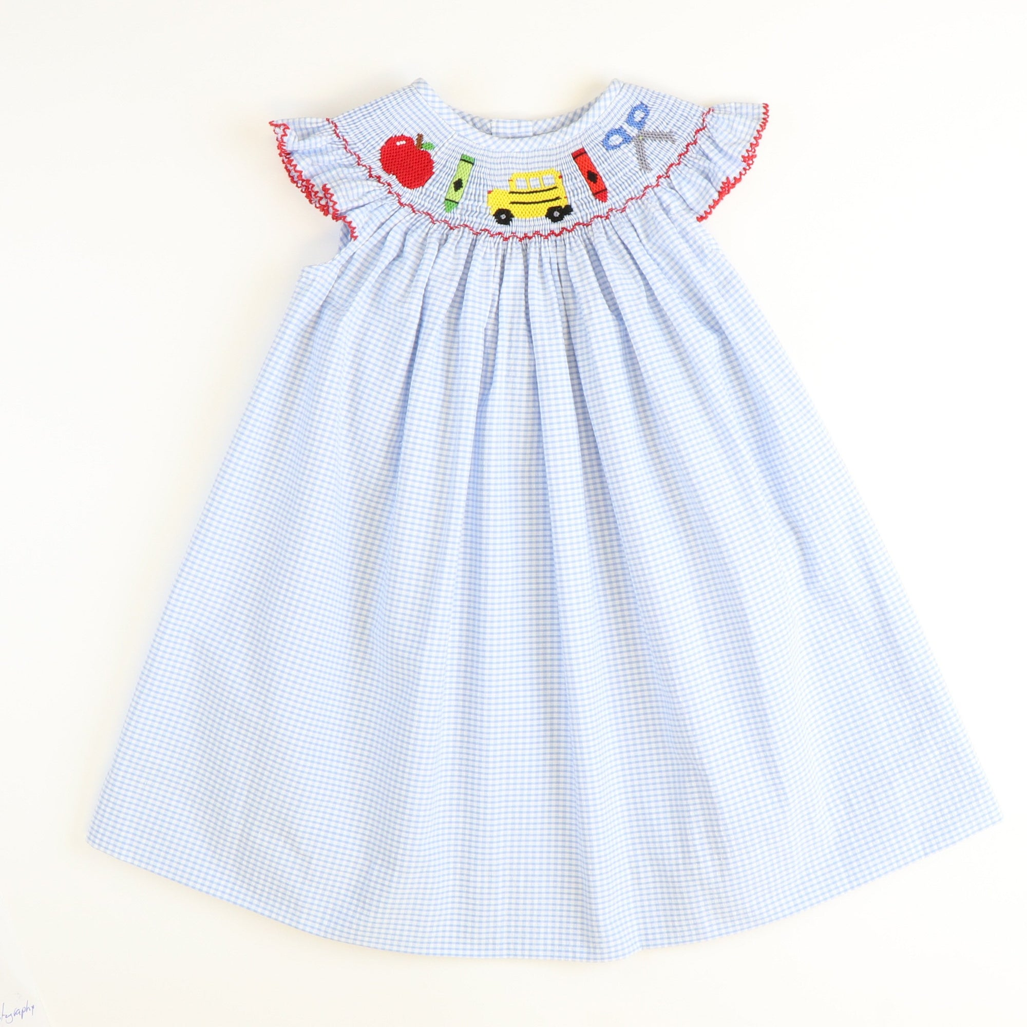 Smocked Back to School Bishop - Light Blue Mini Check Seersucker