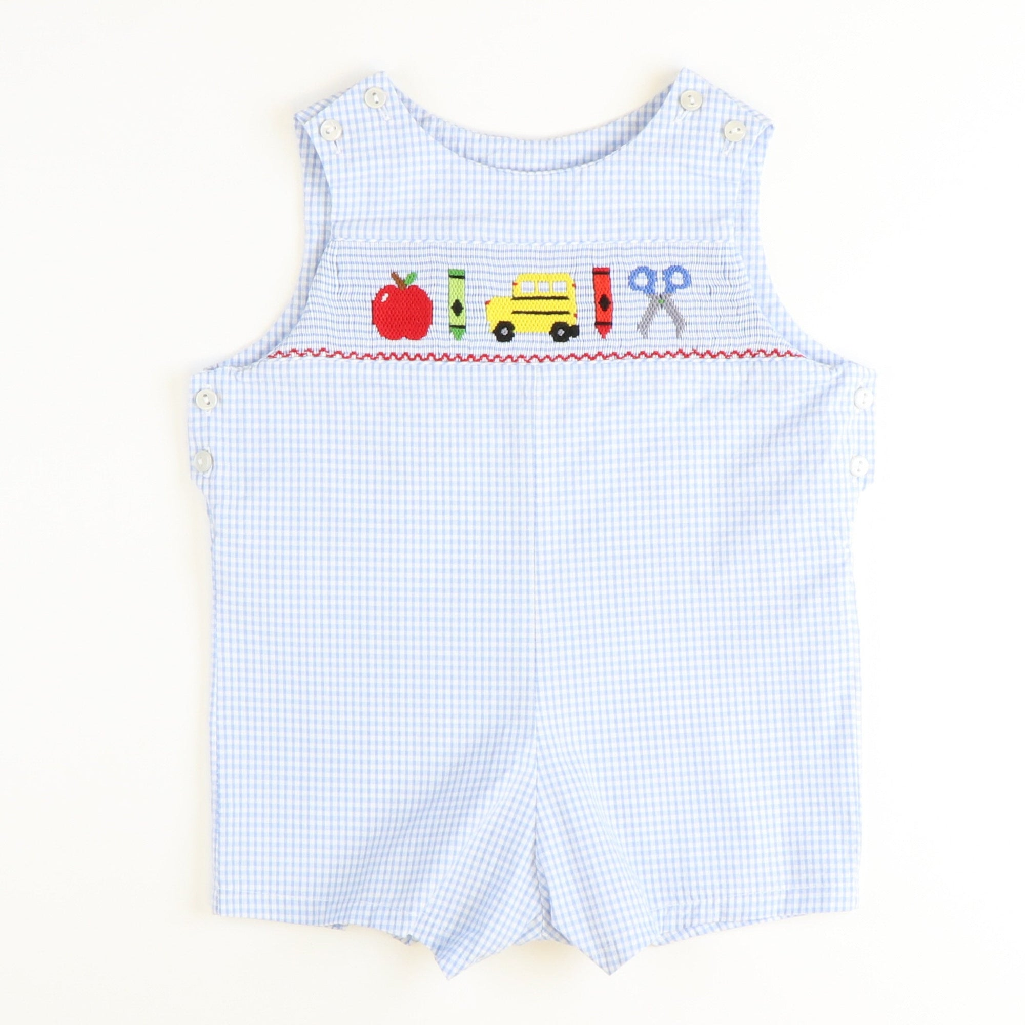 Smocked Back to School Shortall - Light Blue Mini Check Seersucker