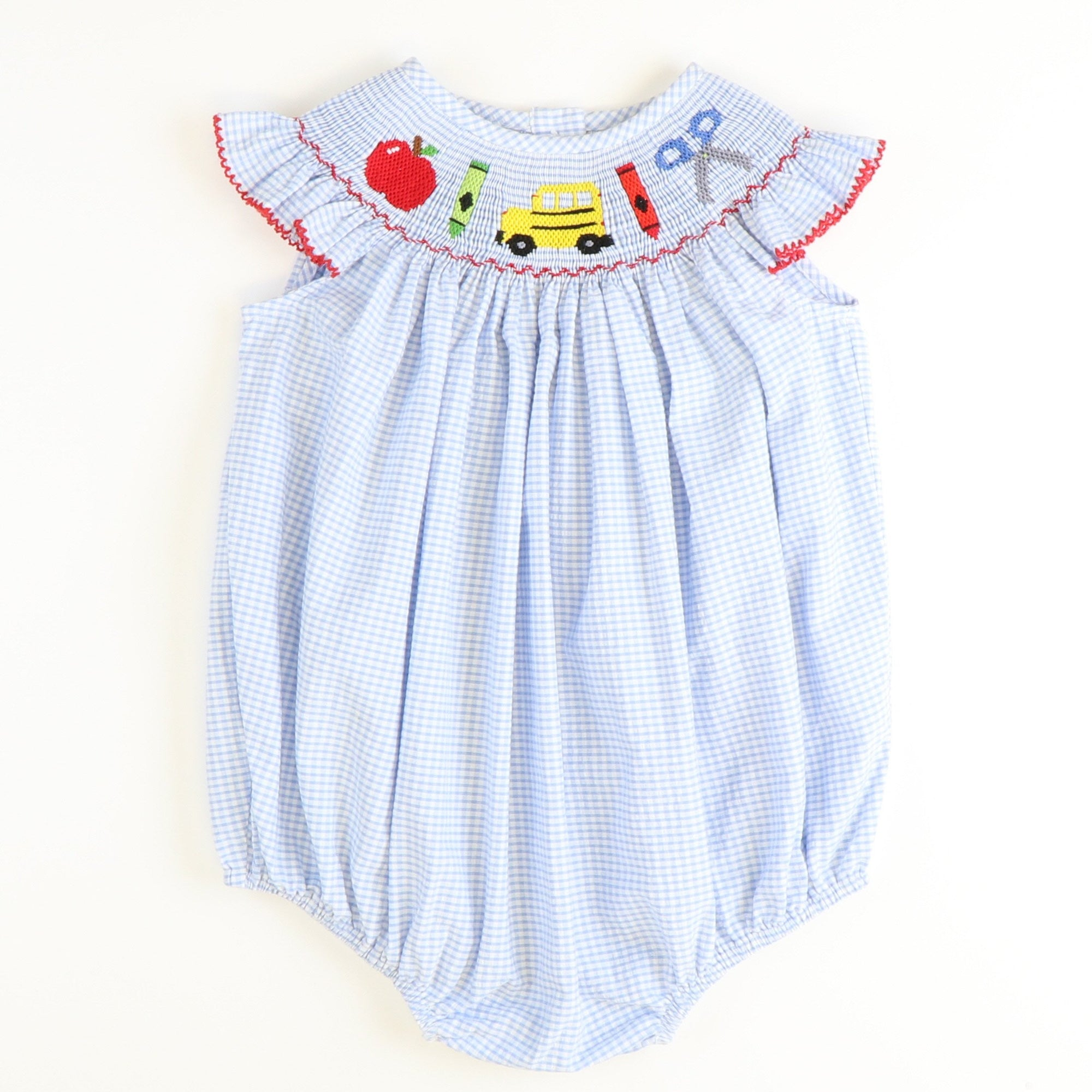 Smocked Back to School Bubble - Light Blue Mini Check Seersucker