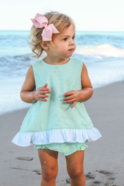 MINT SWISS DOT RUFFLE SWING TOP & BLOOMER SET