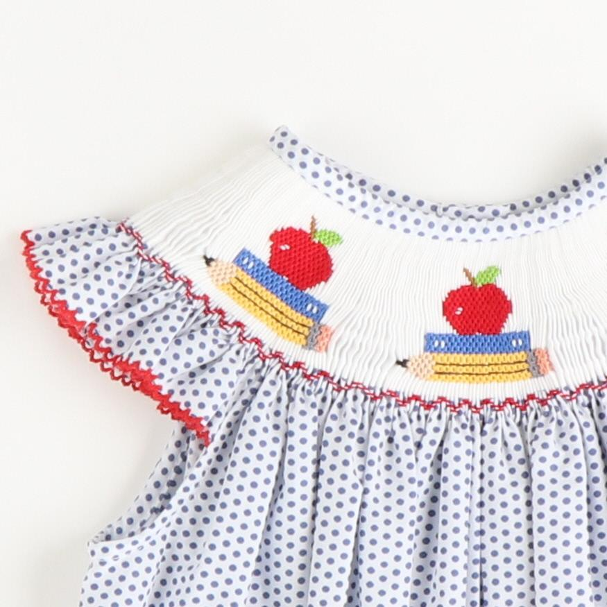 Smocked Apples & Books Bishop - Blue Dot
