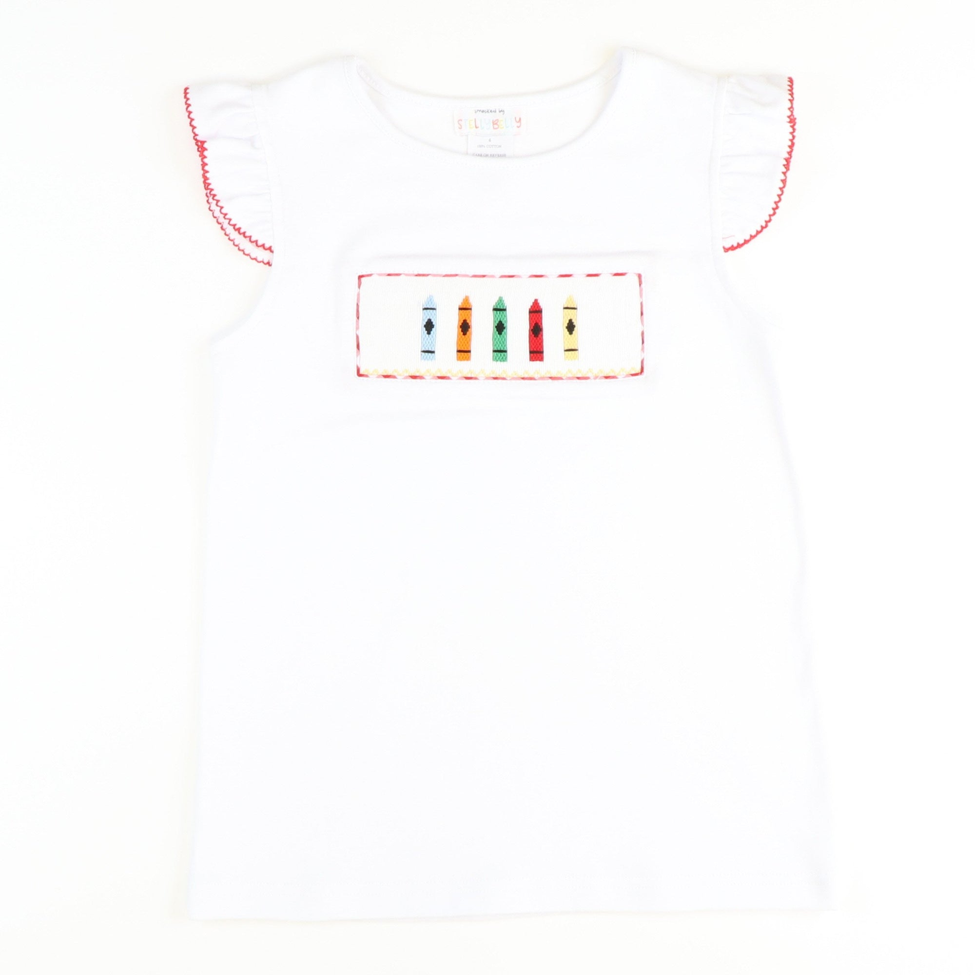 Smocked Crayons Flutter Top