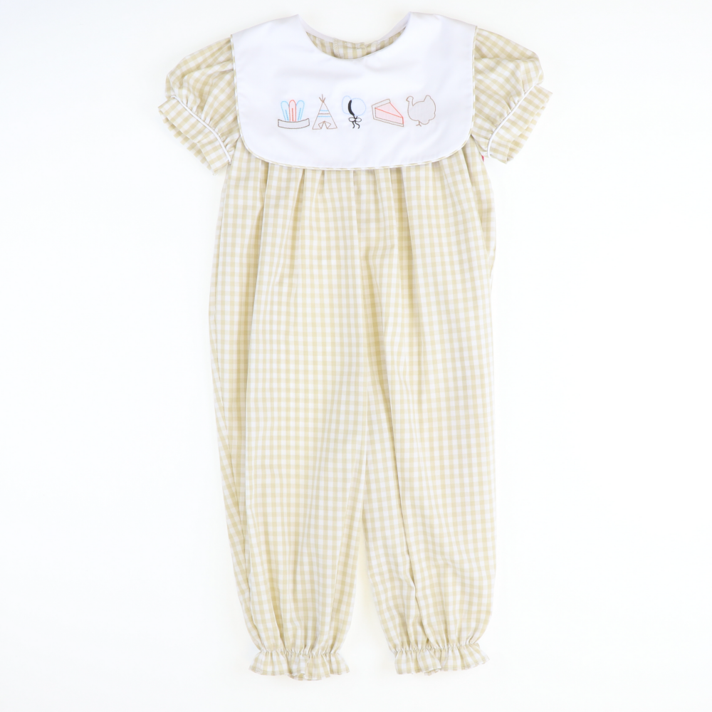 Shadow Stitch Thanksgiving Girl Long Bubble - Khaki Check