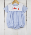 Light Blue Gingham Bib Boy Bubble