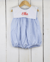 Light Blue Gingham Bib Girl Bubble