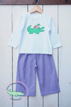 MARDI GRAS ALLIGATOR SHIRT & GINGHAM BOYS PANTS SET - Southern Smocked Company | Great Deals On Classically Styled Smocked, Monogrammed, & Embroidered Infant, Toddler, & Children's Clothing