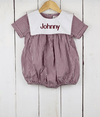 Maroon Gingham Bib Boy Bubble