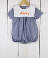 Navy Blue Gingham Bib Boy Bubble