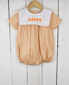 Orange Gingham Bib Boy Bubble