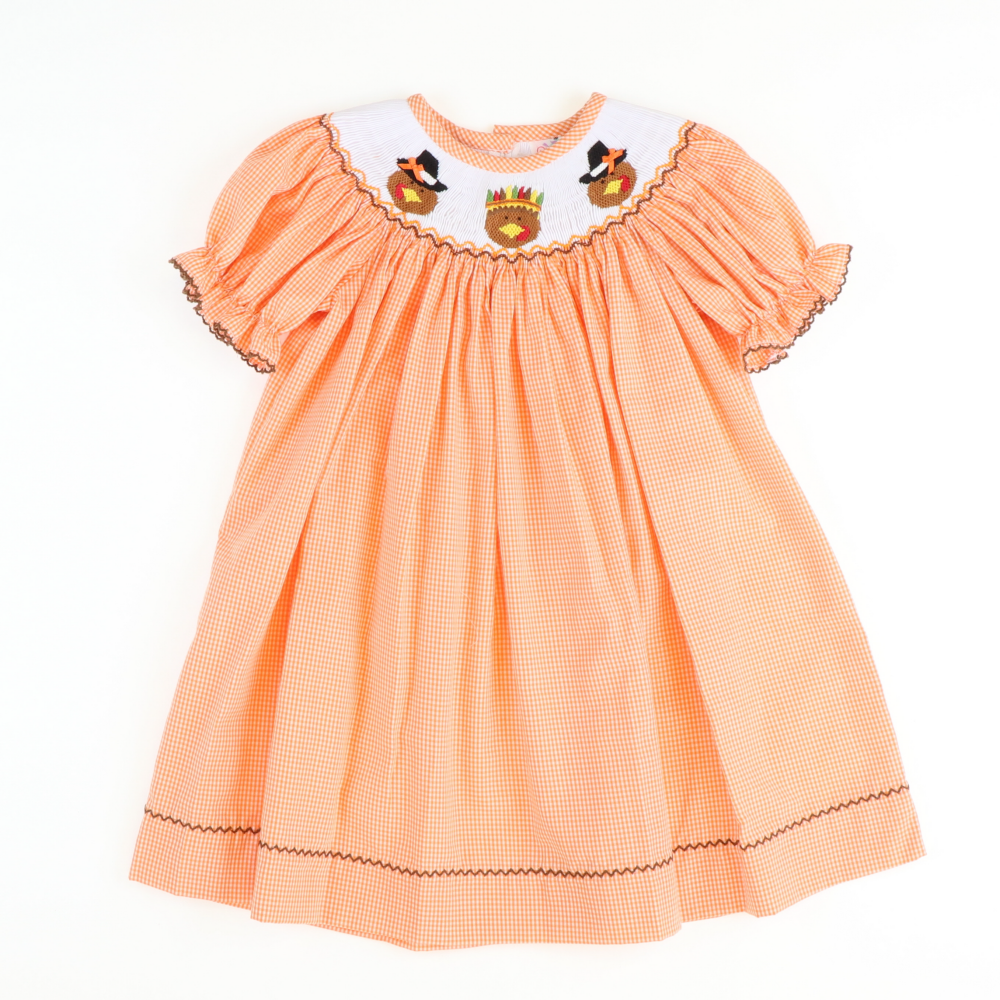 Smocked Pilgrim Turkeys Bishop - Orange Gingham