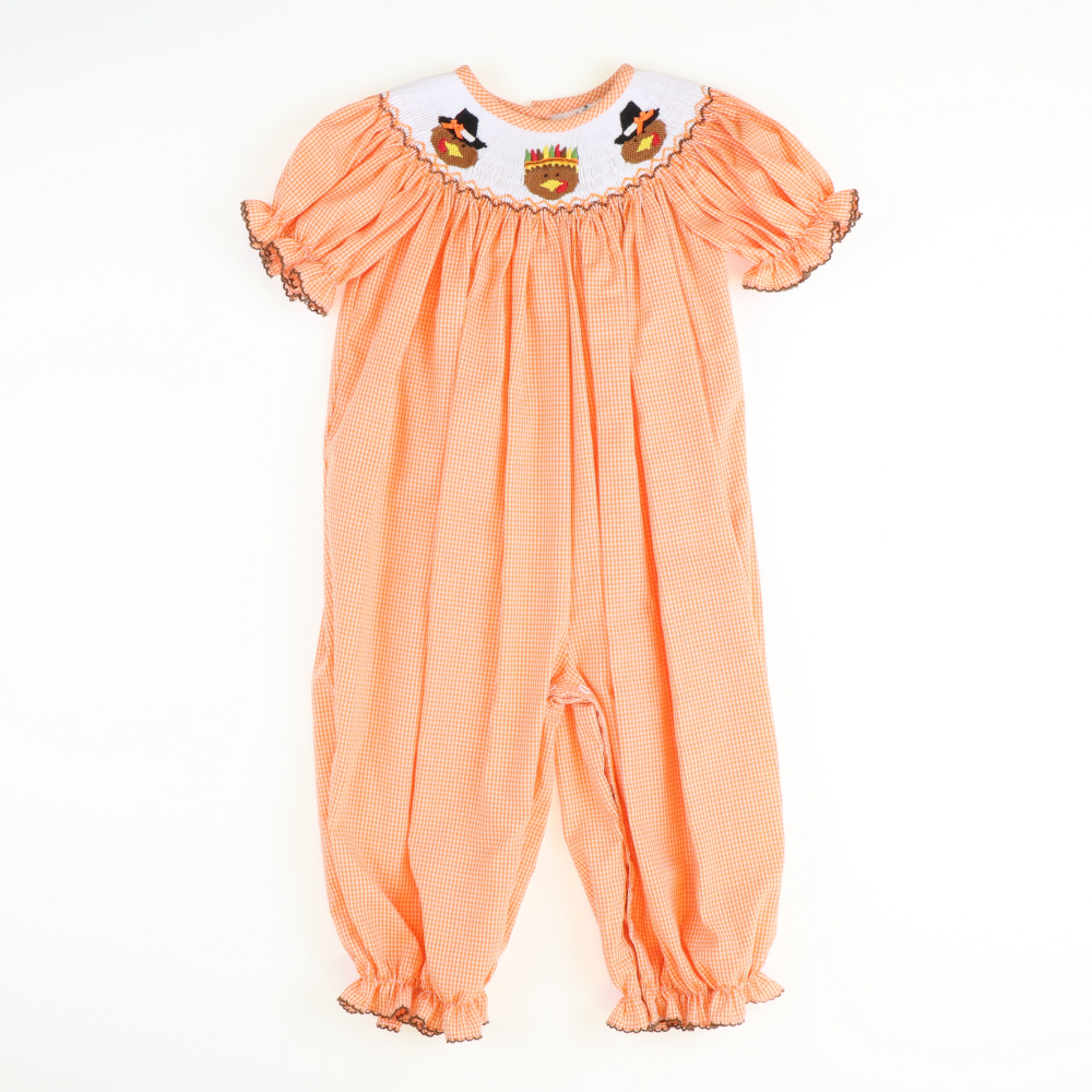 Smocked Pilgrim Turkeys Girl Long Bubble - Orange Micro-Gingham
