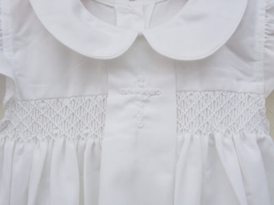 WHITE EMBROIDERED CROSS GIRL'S BUBBLE - Southern Smocked Company | Great Deals On Classically Styled Smocked, Monogrammed, & Embroidered Infant, Toddler, & Children's Clothing