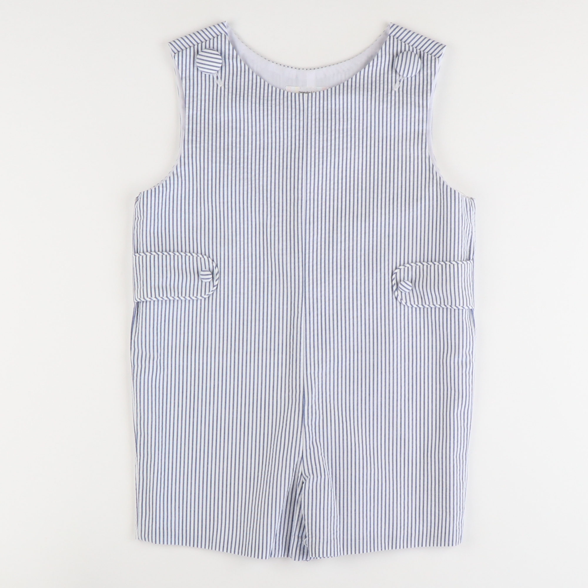 Signature Tab Shortall - Blue Stripe Seersucker