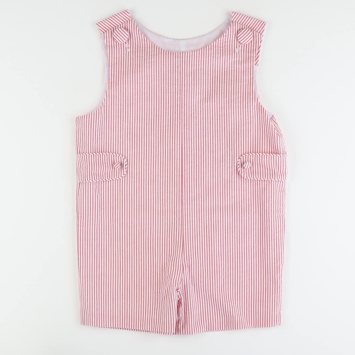 Signature Tab Shortall - Red Stripe Seersucker