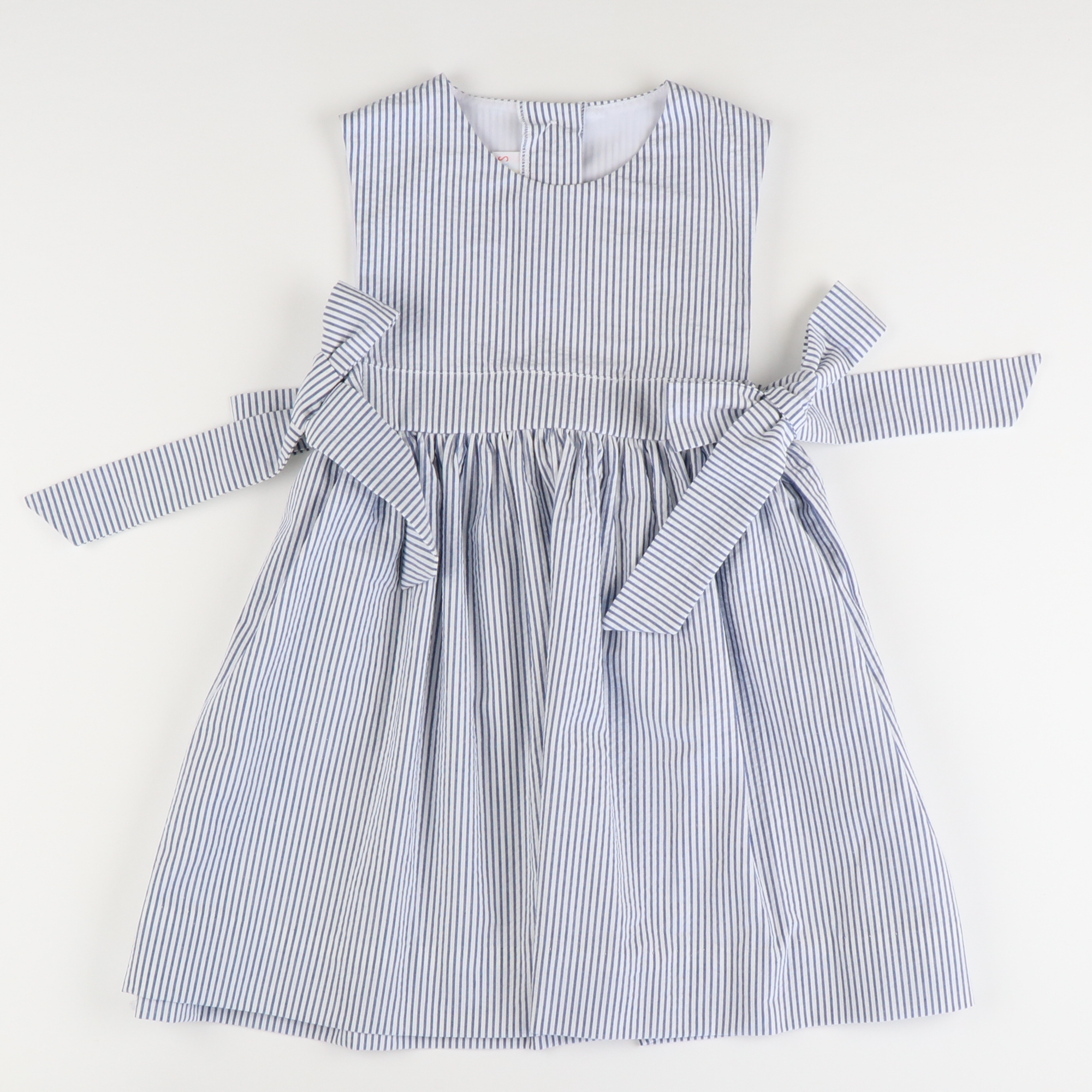 Seaside Seersucker Bow Dress - Blue Stripe