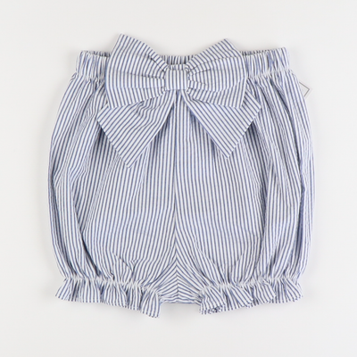 Seaside Seersucker Bow Bloomer Shorts - Blue Stripe