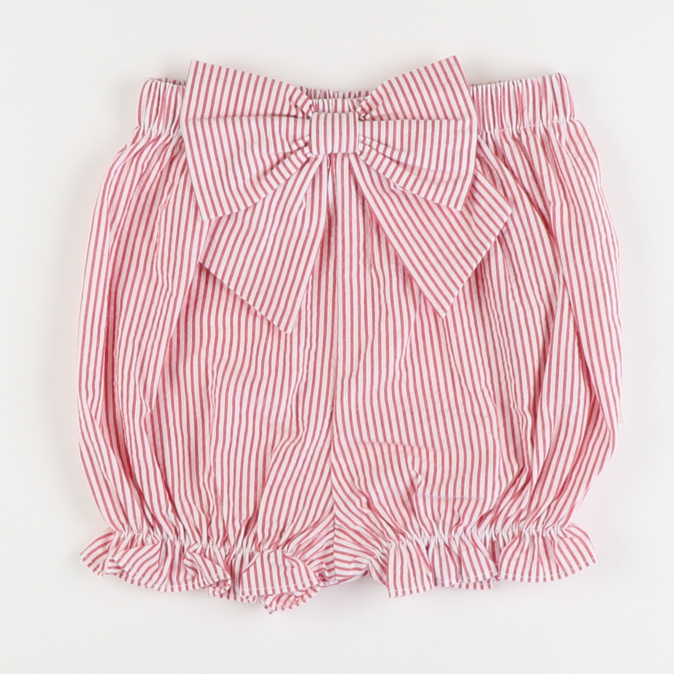 Seaside Seersucker Bow Shorties - Red Stripe