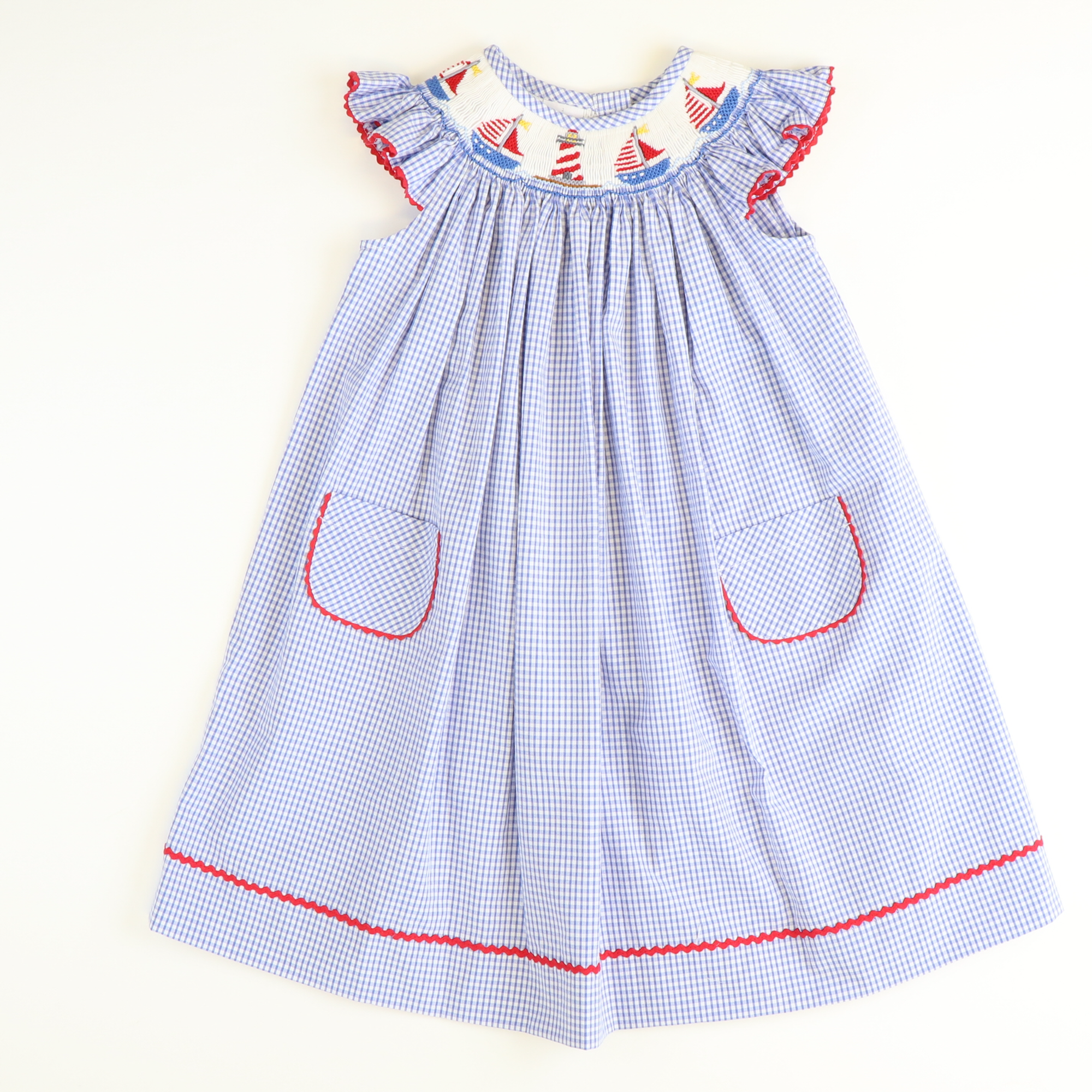 Smocked Nautical Bishop - Royal Check Seersucker