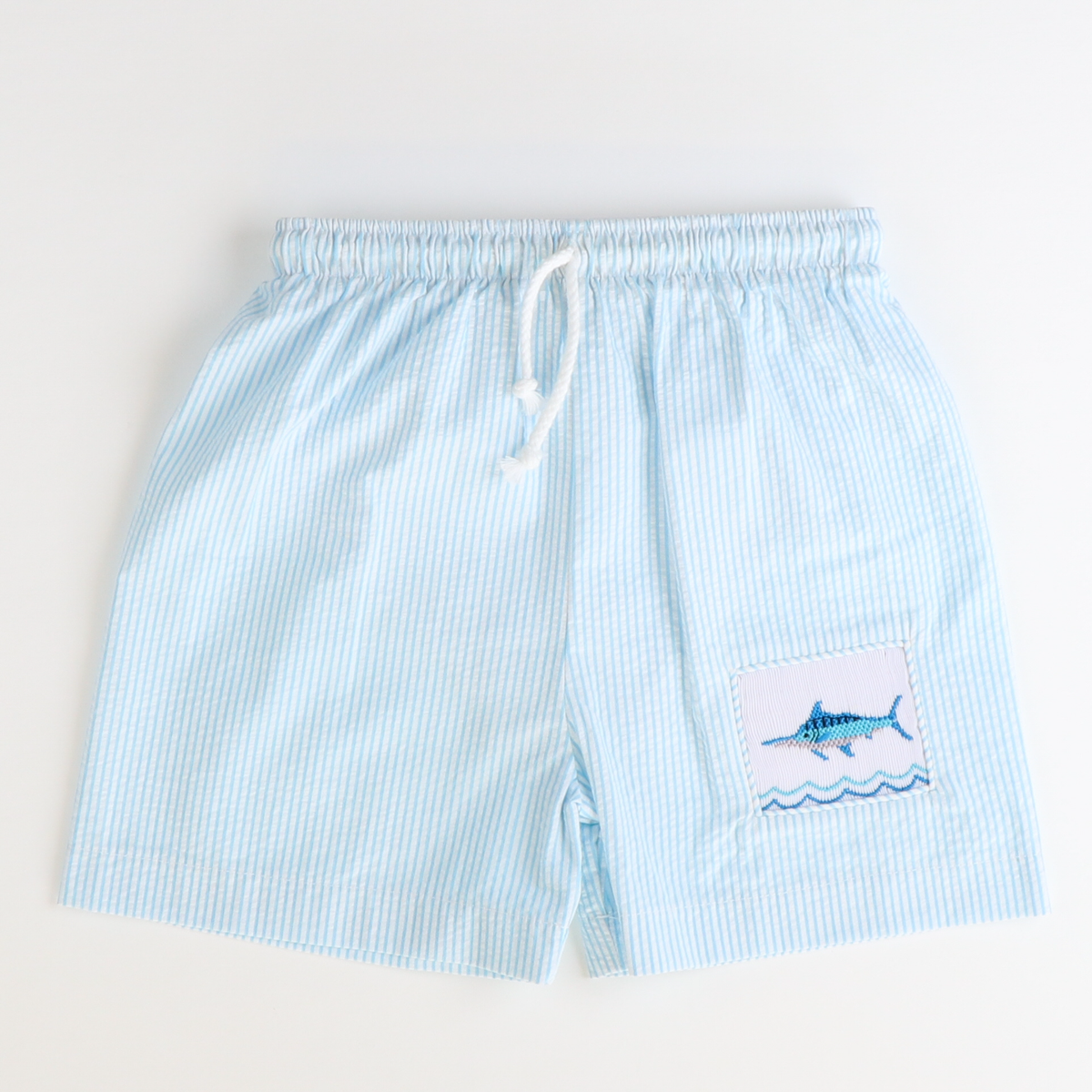 Smocked Marlins Swim Trunks - Turquoise Stripe Seersucker