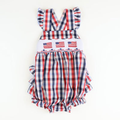 Smocked Flag Red, White, & Blue Plaid Bubble