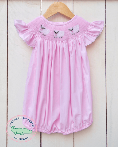 SMOCKED LAMB PINK BUBBLE - Southern Smocked Company | Great Deals On Classically Styled Smocked, Monogrammed, & Embroidered Infant, Toddler, & Children's Clothing