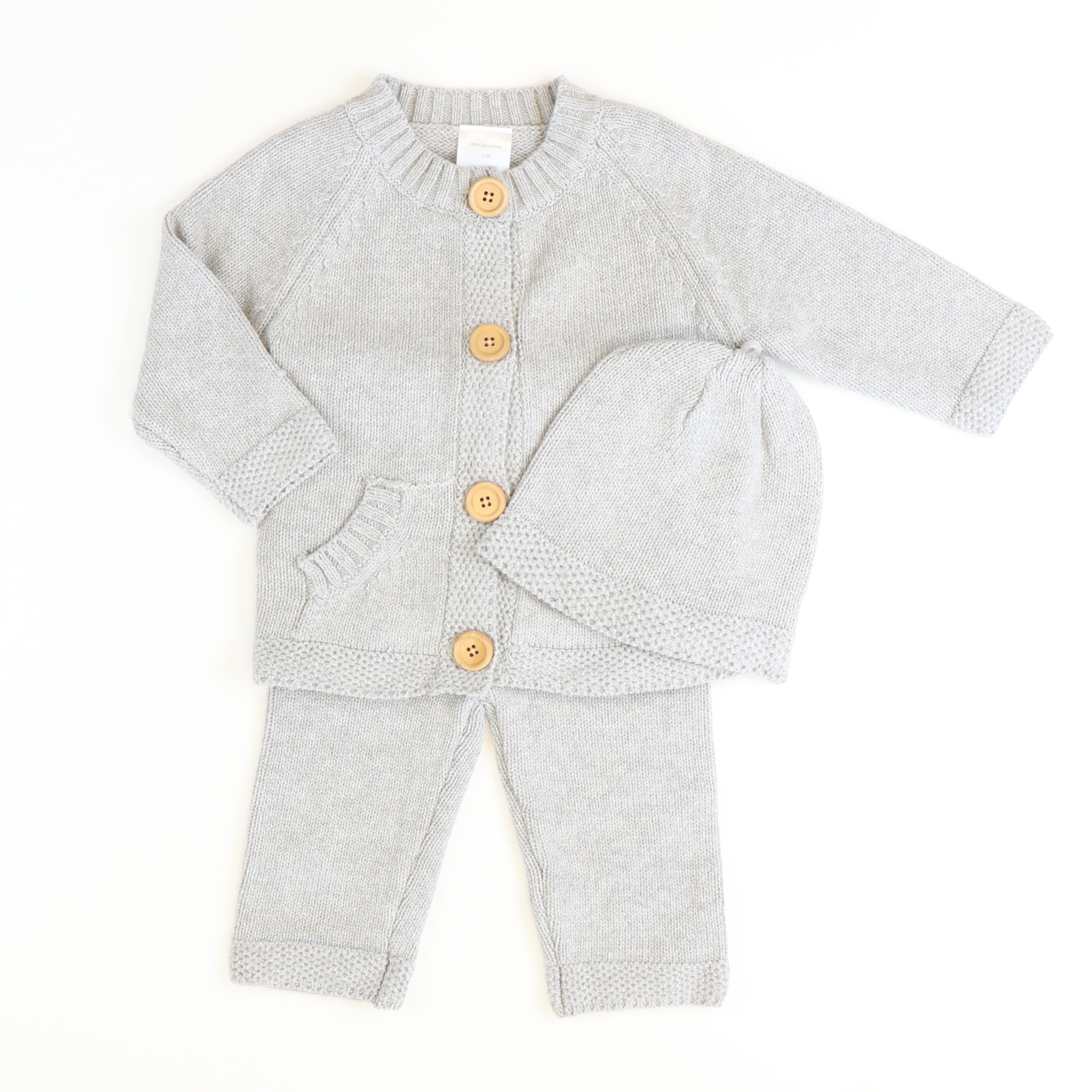 Gray Cardigan, Hat, & Pants Set - Stellybelly ?id=15953662705743