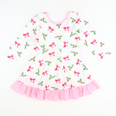 Holly Berries & Bows White Criss-Cross Back Dress