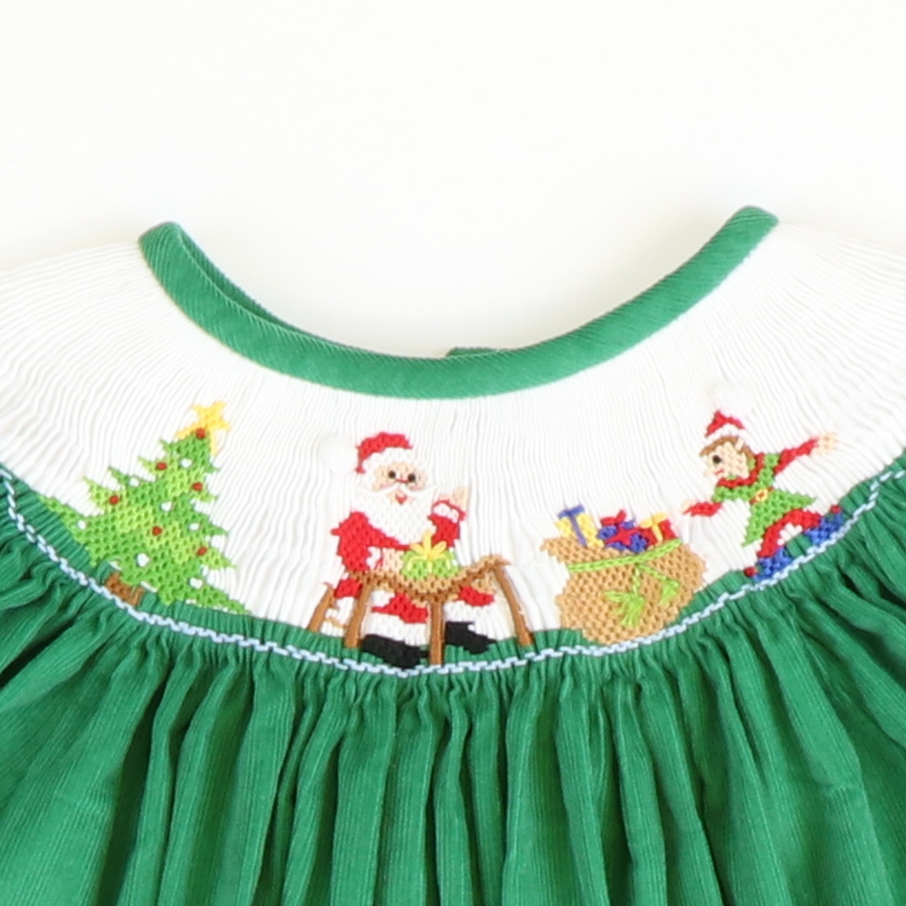 Smocked Santa's Workshop Bishop - Green Corduroy