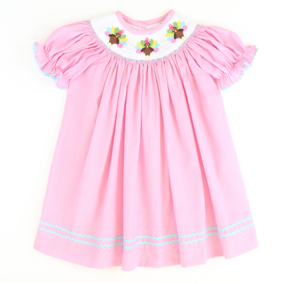 Smocked Turkeys Bishop - Pink Micro-Gingham