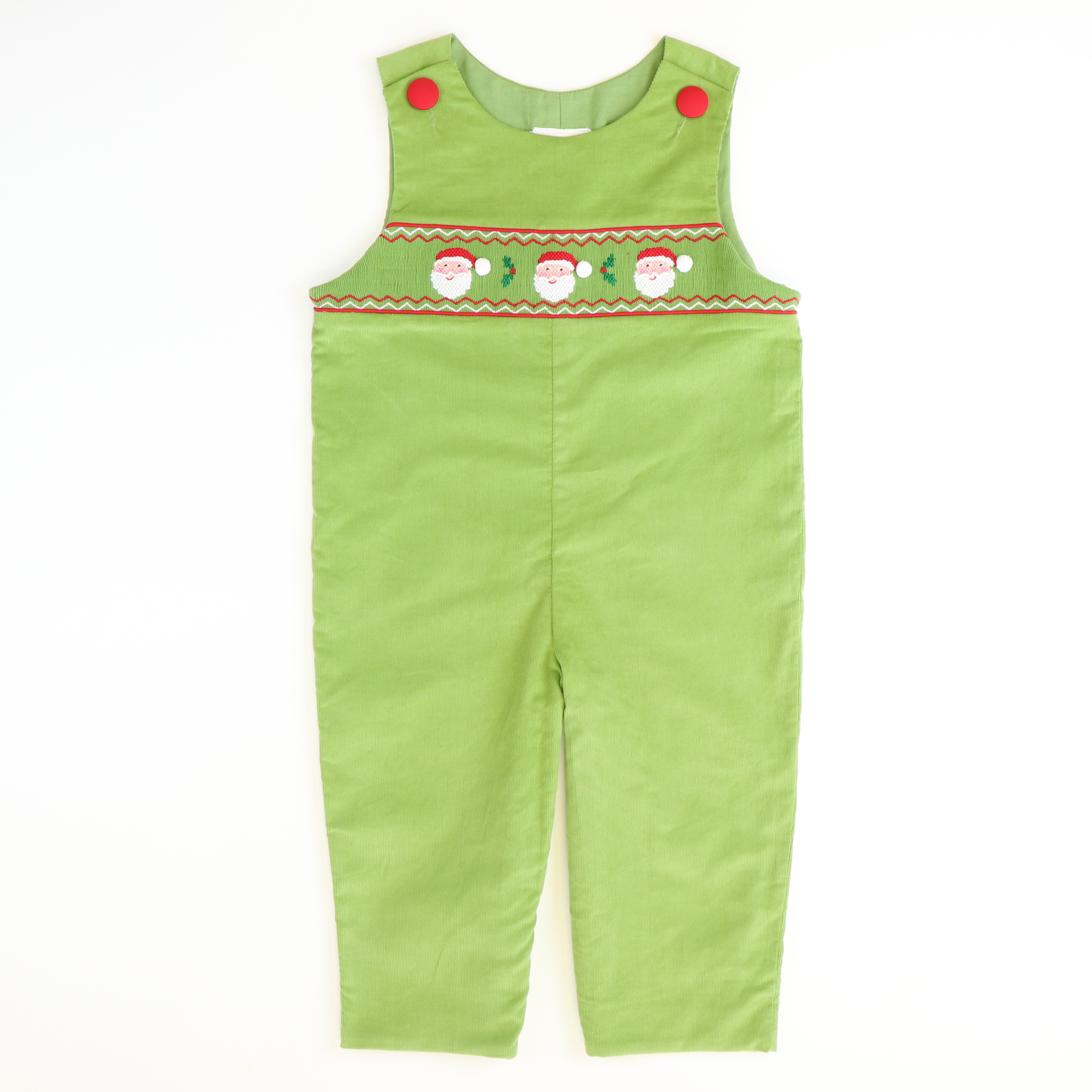 Smocked Holly Jolly Santa Longall - Sage Green Corduroy - Stellybelly ?id=15725346062415