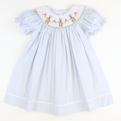 Smocked Classic Storybook Rabbits Bishop - Light Blue Mini Check Seersucker