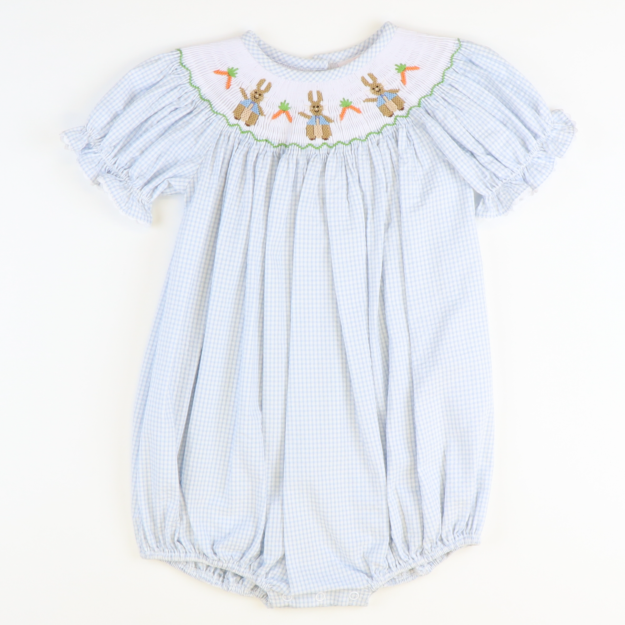 Smocked Classic Storybook Rabbits Girl Bubble - Light Blue Mini Check Seersucker