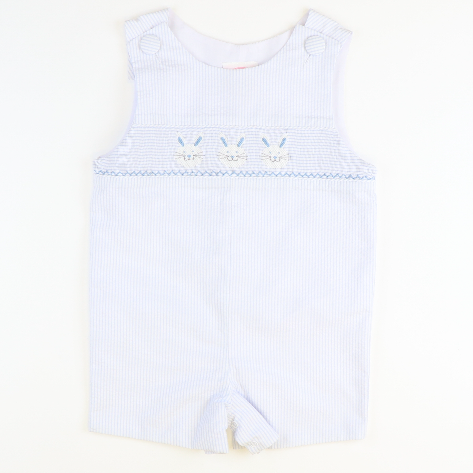 Smocked Bunny Face Shortall - Light Blue Stripe Seersucker