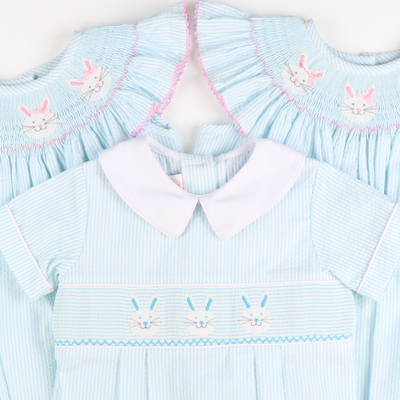 Smocked Bunny Face Girl Bubble - Sky Seersucker Stripe
