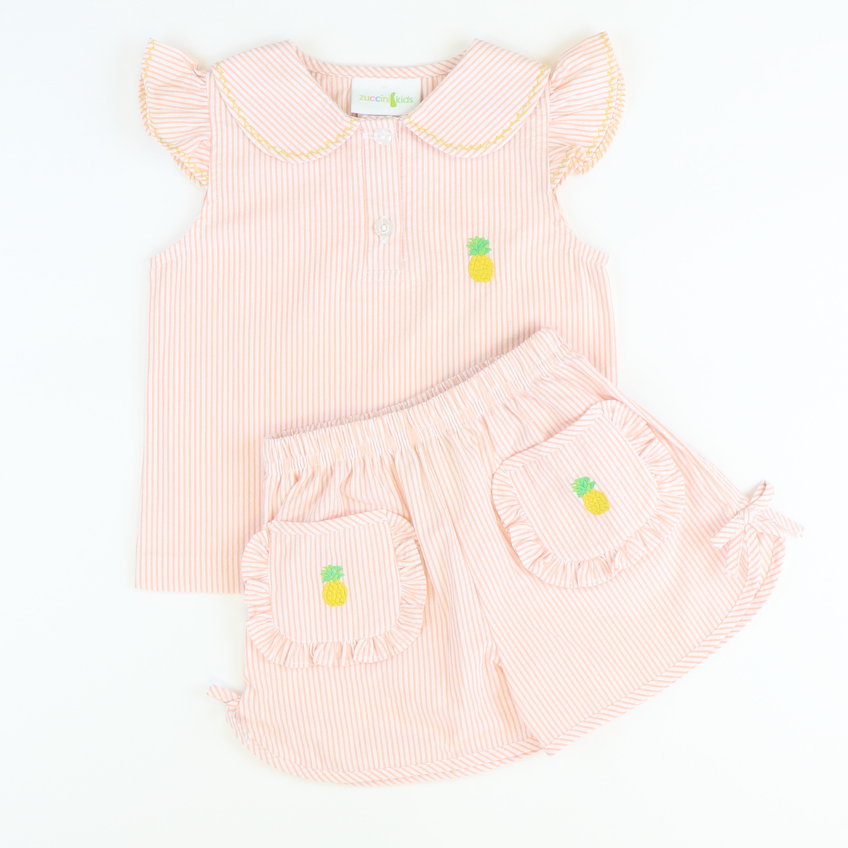 Embroidered Pineapple Top & Shorts Set
