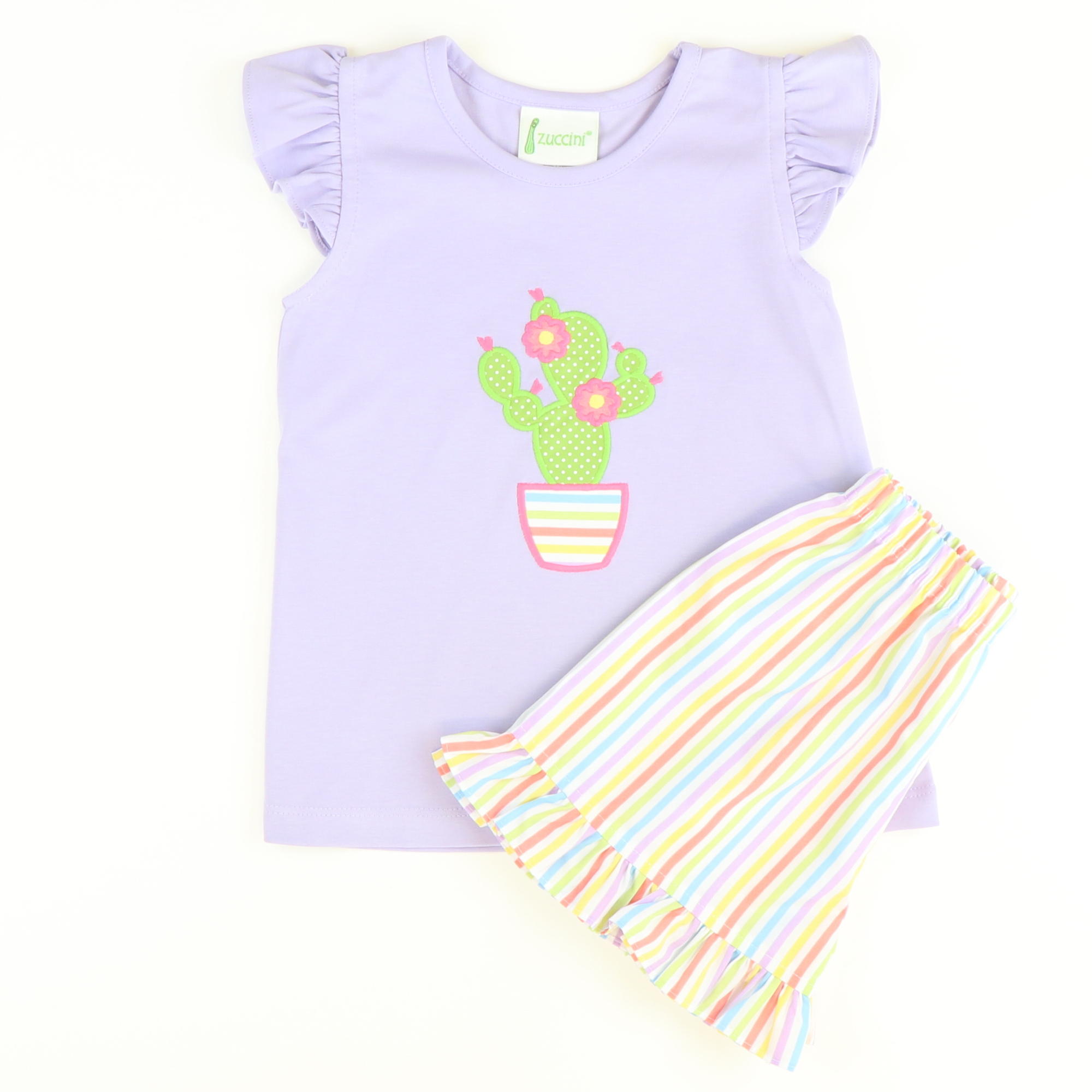 Cactus Appliqué Ruffle Top & Short Set