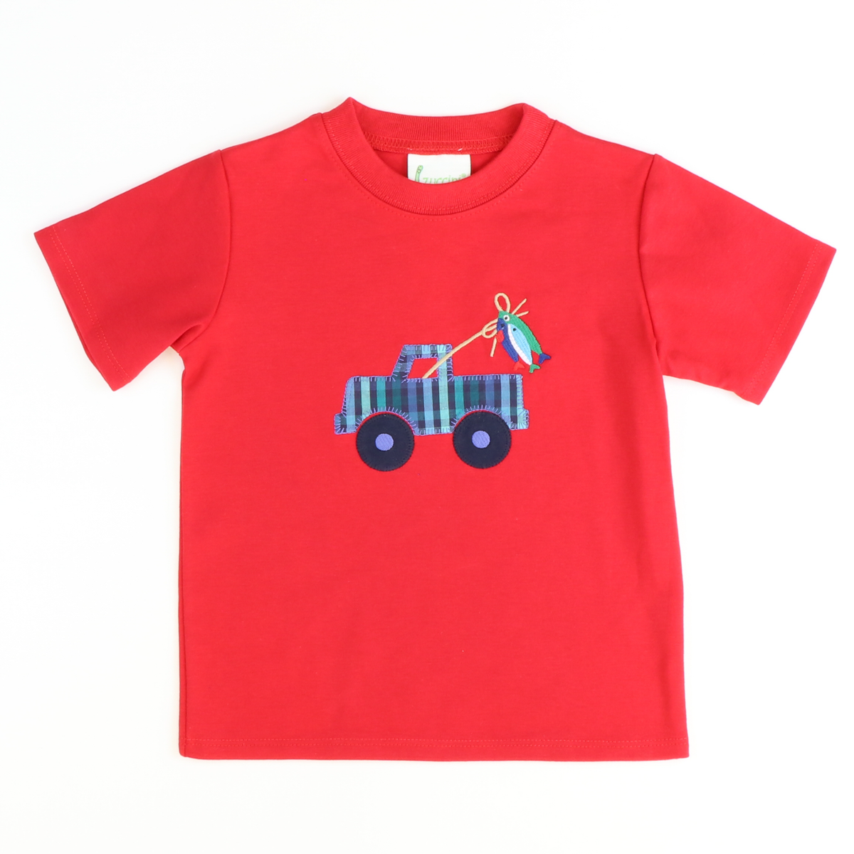 Gone Fishin' Truck Appliqué T-Shirt - Red Knit
